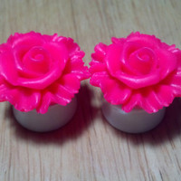 "Buy 2 Pairs/Get 3rd FREE! HOT PINK Pastel Large Rose Flower Plugs/Gauges 1/2"", 9/16"", 5/8"", 11/16"", 3/4"", 7/8"", 1"" Available"