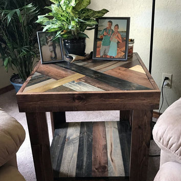 Rustic Herringbone Style Wood End Table