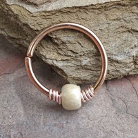 16g 18g or 20 Gauge Rose Gold Beaded Cream Nose Hoop Ring or Helix Tragus Cartilage Hoop Earring