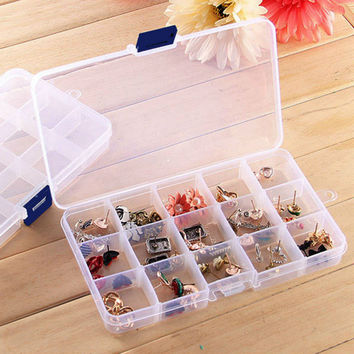 Weekly Pill Case Storage Pillbox Travel Compact Adjustable 15 Compartment Plastic Storage Box Jewelry Tool Container beads Case