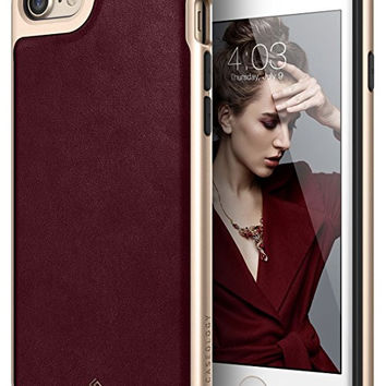 iPhone 7 Case, Caseology [Envoy Series] Classic Rich Texture PU Leather [Leather Cherry Oak] [Luxury Slim] for Apple iPhone 7 (2016)