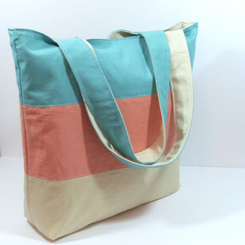 Linen Tote Bag, Beach Bag Tote, Summer Beach Bag, Linen Beach Bag, Coral Beach Bag, Multi Color Bag, Teacher Tote Bag, Bag for Summer