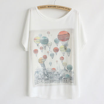 Summer Korean Women's Fashion Balloon Bat Tops Short Sleeve T-shirts [4923221380]