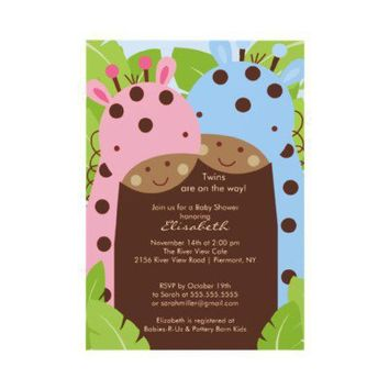 Twins Giraffe Baby Shower Invitation Boy Girl from Zazzle.com