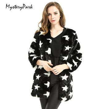 MysteryPark Star Print Faux Fur Hoodie Coat Autumn Winter Outerwear Womens Warm Long Sleeve Casual Hooded Coats