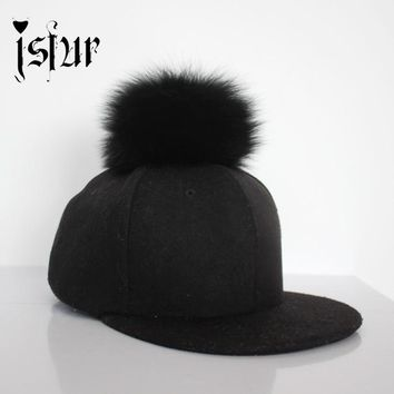 Fall 2016 3 Colors Casquette Baseball Caps With Real Fox Fur Pompom Round and Fluffy Stylish Trucker Cap for Men and Women