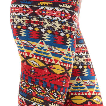 Women's Regular Southwest Multi Colored Fleece Leggings
