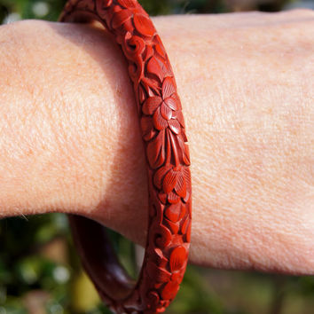 Chinese Cinnabar Carved Bangle Bracelet