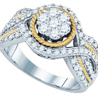 Diamond Fashion Ring in 14k Two Tone Gold 0.99 ctw