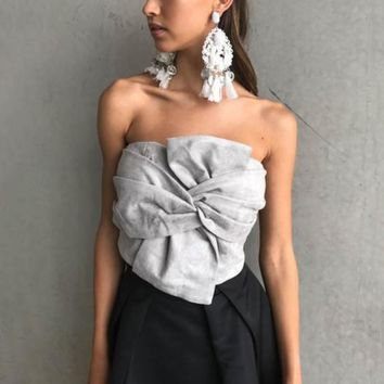 Women Spring Tops Elegant Evening Party Club Crop Top Bustier Sexy Suede Bow Strapless Top Casual Zipper Camisole Tank