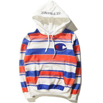 Supreme Print Unisex Lover's Stripes Loose Hoodies Pullover Sweater