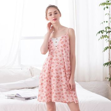 New 2017 summer cotton women floral dress nightgown sexy Condole Belt printing Home clothing knitted vest Sleeveless girl vest