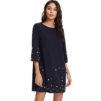 Pearl Beading Tunic Dress 2017 New Fashion Womens