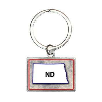 North Dakota ND State Outline on Faded Blue Rectangle Keychain