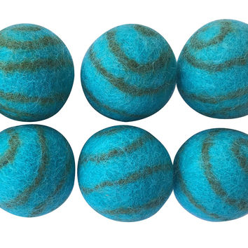 Pet Pizazz 100% Wool Eco-friendly Cat Ferret Small Dog Ball Toy 6-Pack '