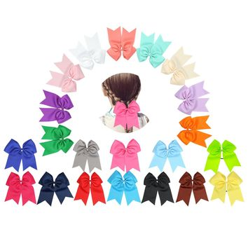 21 PCS Girls Kids Ribbon Grosgrain Bow Tail Hair Tie Ropes Elastic Band Ponytail Holders, Rubber Tie