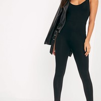 Khlara Black Jersey Low Back Jumpsuit