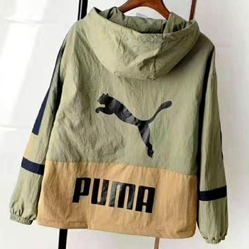 Free shipping-PUMA autumn new loose casual hooded stitching jacket