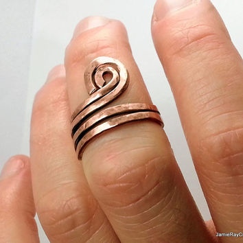 Adjustable Rustic Raw Copper Ring, Hammered Spiral Midi Ring Knuckle Ring Thumb Ring, Hand Forged Textured Artisan Bohemian Copper Wrap Ring