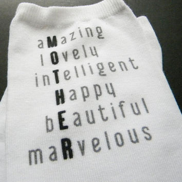 Custom Personalized Mother's Day Anklet Socks for Mom