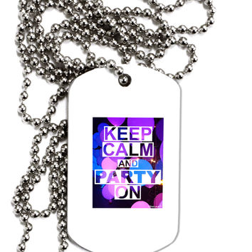 Keep Calm - Party Balloons Adult Dog Tag Chain Necklace