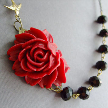 Statement Flower NecklaceMaroon NecklaceBlack by RachelleD on Etsy
