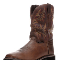"Justin Men's Rugged Tan Cowhide 11"" Waterproof Stampede Square Toe Boot"