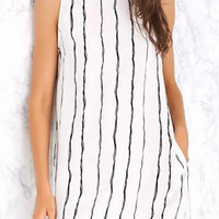 White Sleeveless Striped Dress with Pocket