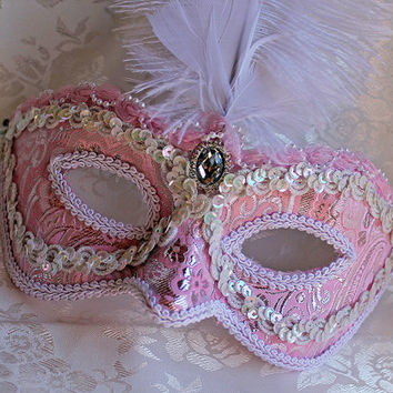 Pink and Silver Brocade Masquerade Mask with Ostrich Plume