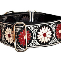 Burgundy Daisies Jacquard Martingale Collar (2 Inch), Greyhound Collar, Dog Collar, Custom Dog Collars