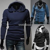 Fashion Mens Slim Fit Double Collar Cosplay Hoodies Jacket Costume Coat