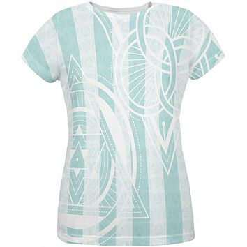 Summer Sacred Geometry Teal Stripes All Over Womens T Shirt