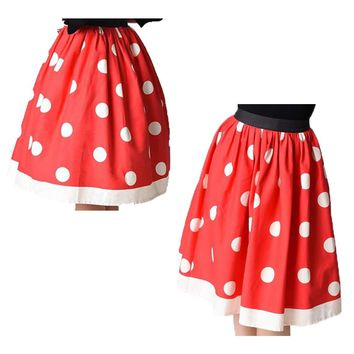 Red Polka Dot all-match Faldas Vintage Womens Pleated Tennis Skirts Floral A-Line Midi Sports Beach Skirt High Waist Party Skirt