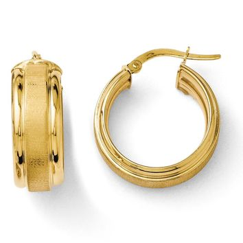 8mm Brushed & Polished Round Hoop Earrings in 14k Yellow Gold, 20mm