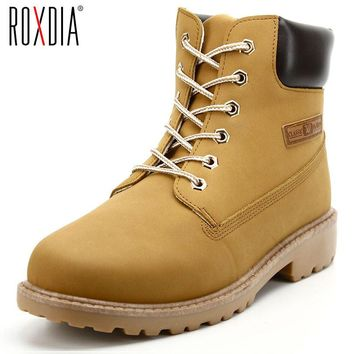 ROXDIA PU Leather Men Boots Spring Autumn And Winter Man Shoes Ankle Boot Men's Snow S