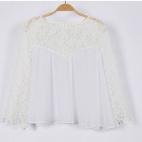 White Lace-Paneled Blouse
