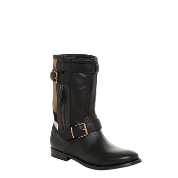 Burberry Women's Grantville Checkered and Belted Leather Moto Boots
