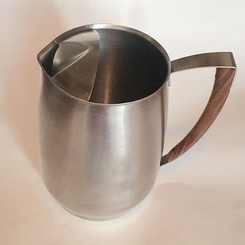 Mid Century Modern West Bend Stainless Teak Pitcher Vintage Kitchen