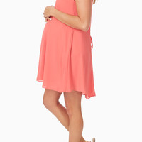 Basic Coral Chiffon Maternity Dress