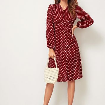 Polka Dot Button Front Shirred Back Tea Dress