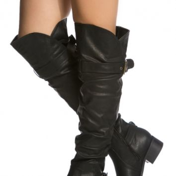Black Faux Leather Knee High Riding Boots @ Cicihot Boots Catalog:women's winter boots,leather thigh high boots,black platform knee high boots,over the knee boots,Go Go boots,cowgirl boots,gladiator boots,womens dress boots,skirt boots.
