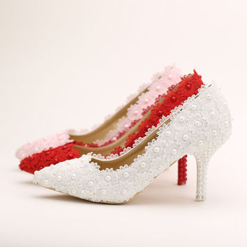 5cm/7cm/9cm Heel Height White or Red Pearl Lace Flower Bride Shoes Pointed Toe Slip-On Wedding Shoes