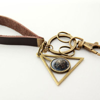 Cosmic Key Chain- Double Clusters of Stars (NGC 1850)- Leather Chain with Brass Planet Pendant Key Chain