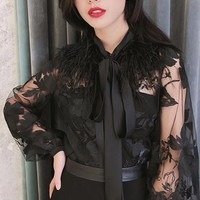 Queen Of Kyoto Sheer Mesh Floral Pattern Long Lantern Sleeve Feather Tie Neck Blouse Top - 2 Colors Available