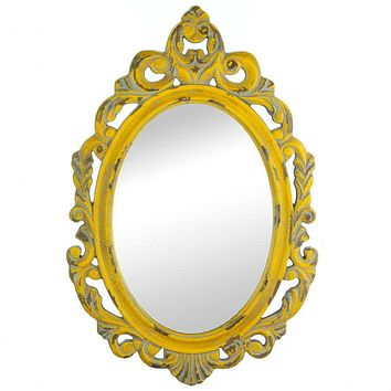 Distressed Vintage-Look Ornate Yellow Mirror