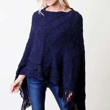 Women's Sweater Pullover Fringed Poncho Cape Navy Blue: OS