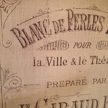 Reclaimed wood wall art with vintage french perfume graphic - shabby chic wall hanging with french perfume graphic