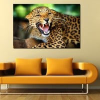 Canik33 Canvas Print Artwork Stretched Gallery Wrapped Wall Art Painting Leopard Grin Africa Predator Size 26x40""