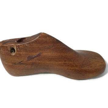 Vintage Child's Wood Shoe Mold - Baby Shoe Form, Nursery Decor,  Industrial Artifact, Rustic Decorative Accessory