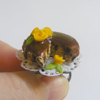 Scented or Unscented Chocolate Cake with Roses Miniature Food Ring  - Miniature Food Jewelry